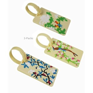 JAVOedge 3 Colorful and Unique Bird Design Rubber Luggage Tags with Adjustable Strap and Information Card for Easy Use - Birds