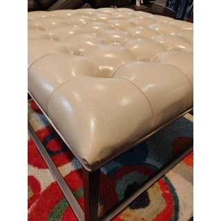 Strick & Bolton Healy Cream Leather Tufted Ottoman