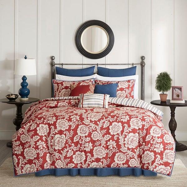 Madison Park Georgia Red Cotton Duvet Cover Set