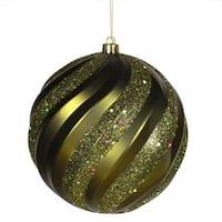 6 in. Olive Green Glitter Swirl Shatterproof Christmas Ball Ornament