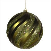 8 in. Olive Green Glitter Swirl Shatterproof Christmas Ball Ornament