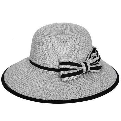 Womens Straw Panama Two Tone Comfort Wear Travel Beach Sun Floppy Hat