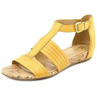 Naturalizer Longing Women Open Toe Leather Yellow Gladiator Sandal