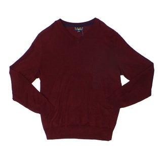 Club Room NEW Red Plum  Mens Size Large L V-Neck Wool Blend Sweater