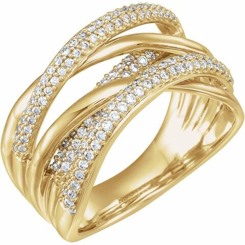 14K Yellow Gold 1/2 Carat Diamond Criss-Cross Ring for Women, Size - 7