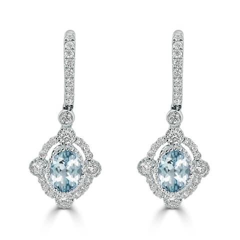 Auriya 1 1/3ct Fancy Oval-cut Aquamarine Halo Diamond Dangle Earrings 7/8ctw 18k Gold