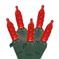 Set Of 70 Red LED M5 Mini Christmas Lights - Green Wire