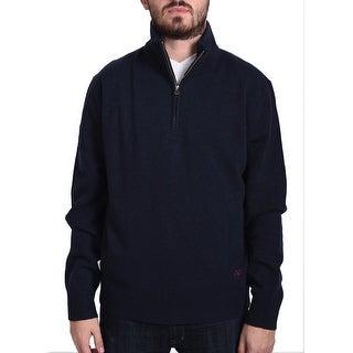 Valentino Men's Zip Neck Sweater Dark Navy Blue