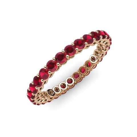 TriJewels Ruby Gallery Shared Prong Eternity Ring Stackable Gold