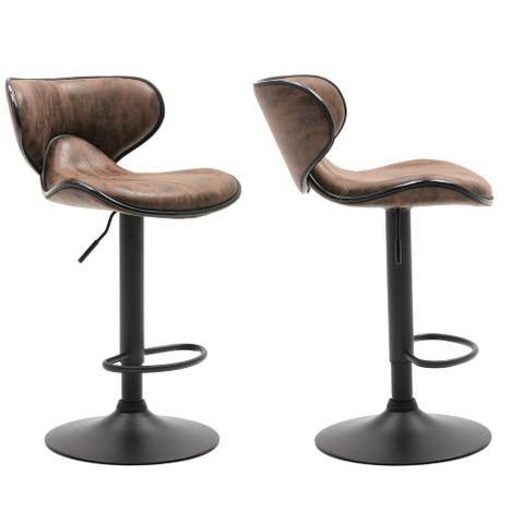 Adjustable Swivel Vintage Brown Bar Counter Stool Chair Set Of 2, Back - 24 to 32 inch adjustable - 24 to 32 inch adjustable