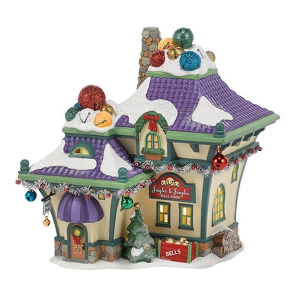 "Department 56 North Pole Series ""Jingle and Jangle's Bells"" Porcelain Lighted Building #4036545"