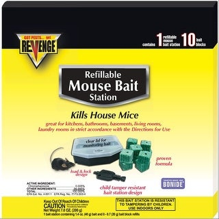 Bonide 48112 Refillable Revenge Mouse Bait Station, 10/Pack