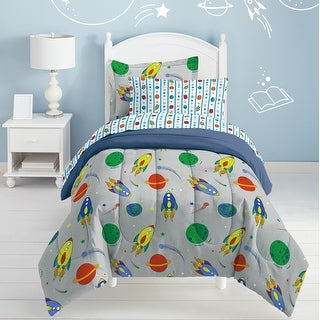 Link to Dream Factory Space Rocket Twin 5-piece Bed in a Bag with Sheet Set Similar Items in Kids Comforter Sets