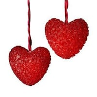 Red Valentines Day Heart Christmas Lights - Red Wire