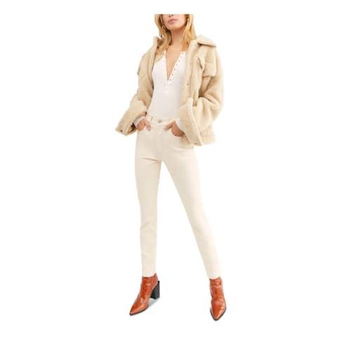 FREE PEOPLE Womens Ivory Velvet Pants Size 25 Waist