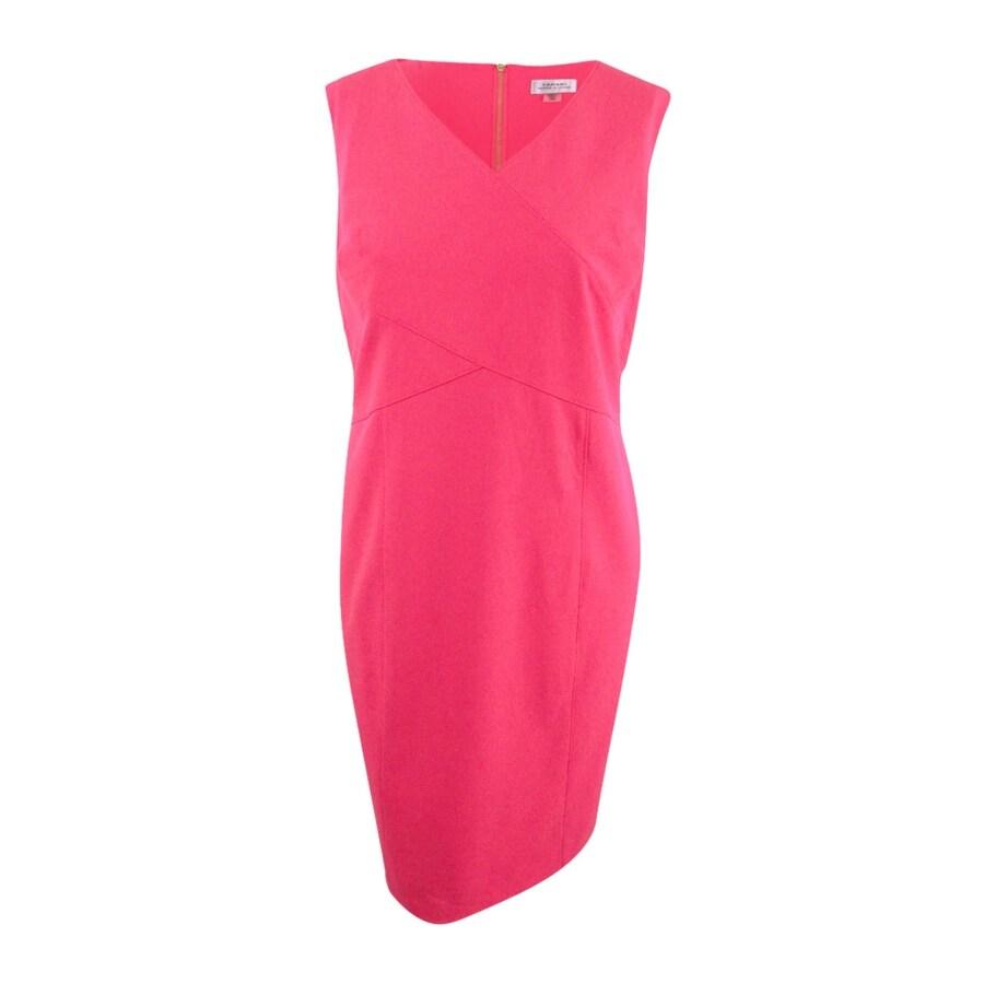 Tahari Womens Plus Size V-Neck Stretch Seamed Dress - Coral