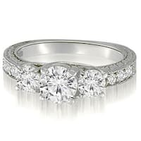 1.15 cttw. 14K White Gold Three-Stone Trellis Round Cut Diamond Engagement Ring