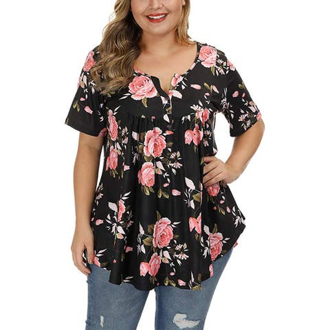Women's Plus Size Henley Shirts Floral Tunic Tops Short Sleeve Blouses
