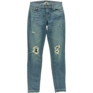 J Brand Womens Denim Destroyed Skinny Jeans