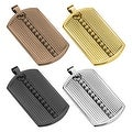 Ridged Pattern with Beaded Center Line Ion Plated Stainless Steel Dog Tag Pendant (30.5 mm Width) - Thumbnail 0