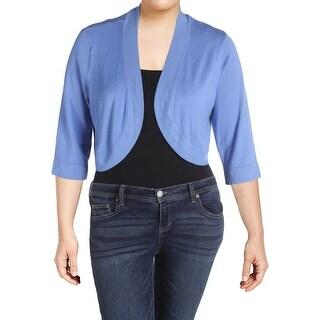 Jessica Howard Womens Plus Cardigan Sweater Knit 3/4 Sleeves