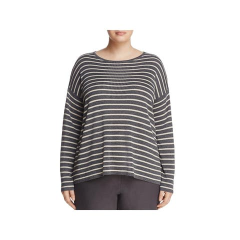 Eileen Fisher Womens Plus Blouse Boxy Round Neck