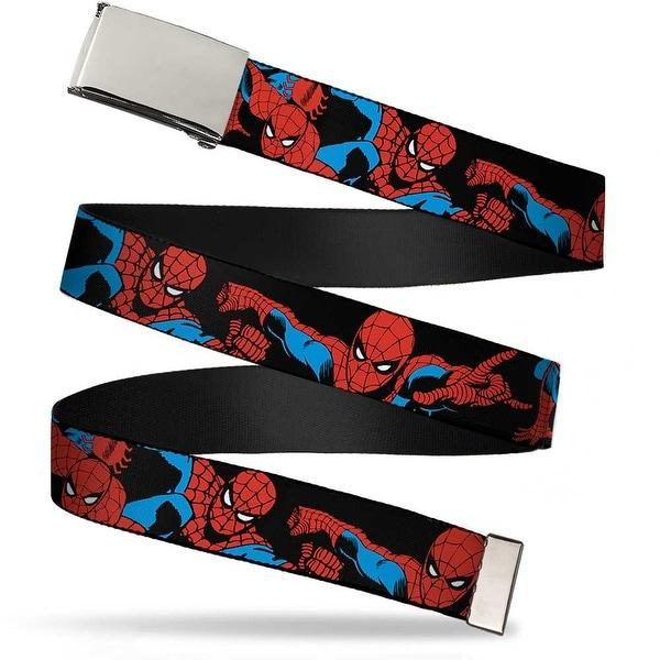 Marvel Comics blank Chrome Buckle Spider Man Action Poses Black Web Belt - S