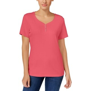 Karen Scott Womens Petites Casual Top Ribbed Trim V-Neck