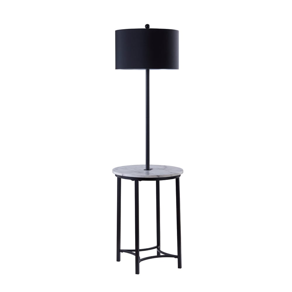 Versanora - Floor Lamp with Faux Marble Table Black Shade and Black Finish Legs (Black)
