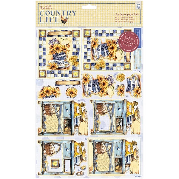 Papermania Country Life A4 Decoupage Pack-Country Garden, Linen Finish