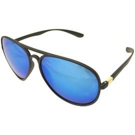 Aviator Sunglasses Black Flexible Frame Blue Mirrored Lens UV400