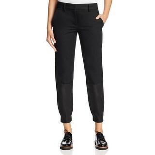 DKNY Deep Black Womens Size 10 Jogger Capris Cropped Wool Pants