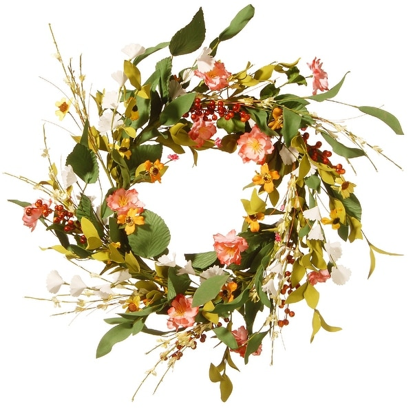 Assorted Flower Artificial Wreath - 22-Inch - N/A
