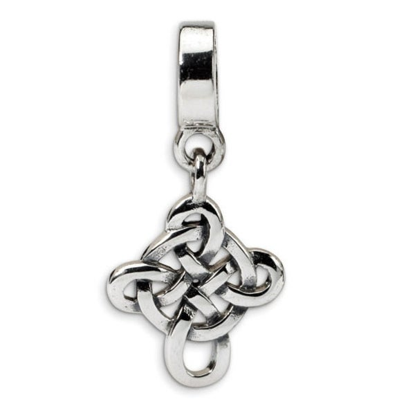 Sterling Silver Reflections Celtic Weave Cross Dangle Bead (4mm Diameter Hole)