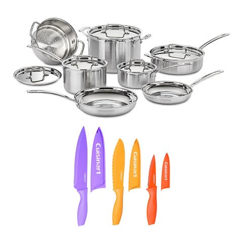 Cuisinart MCP-12N MultiClad Pro 3-Ply Cookware with Knife Set