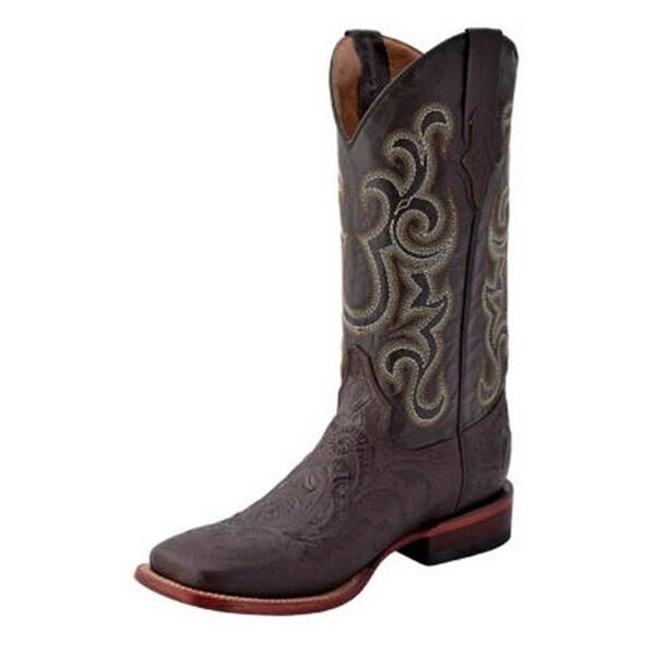 Ferrini Western Boots Mens Embossed Square Pull Straps Choc