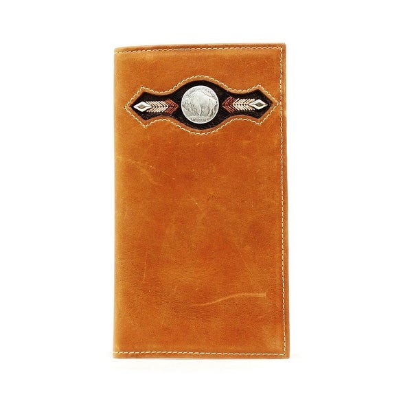 Nocona Western Wallet Mens Leather Rodeo Buffalo Concho Brown - One size