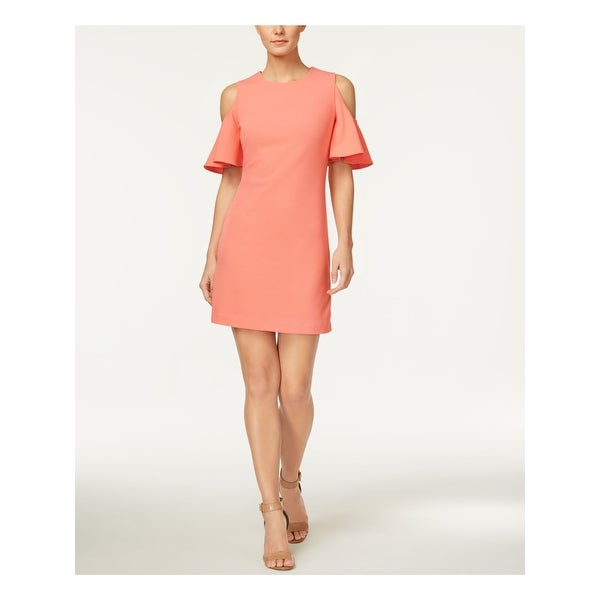 CALVIN KLEIN Coral Short Sleeve Above The Knee Sheath Dress Size 2. Opens flyout.