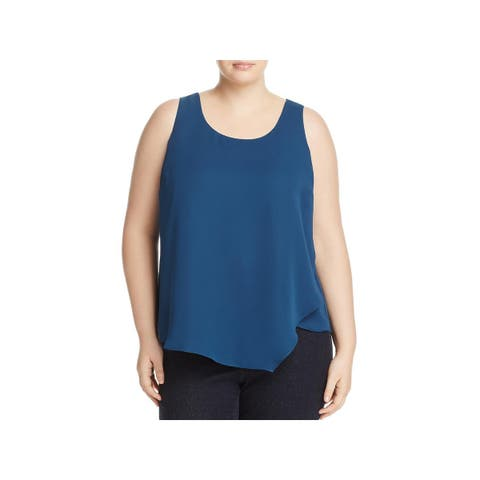 Nic + Zoe Womens Plus Promenade Blouse Asymmetric Sleeveless