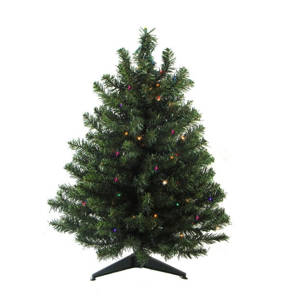 2' Pre-Lit Natural Two-Tone Pine Artificial Christmas Tree - Multi LED Lights