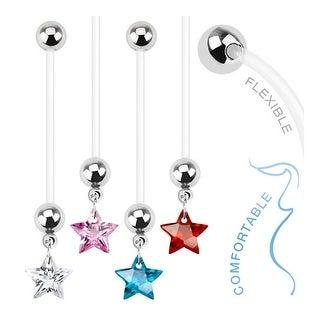 Star Gem Dangle Bio Flex Pregnancy Navel Belly Button Ring