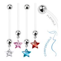 Star Gem Dangle Bio Flex Pregnancy Navel Belly Button Ring