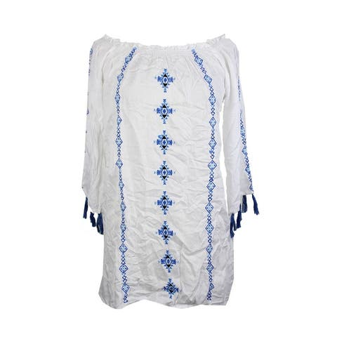 Raviya White Long-Sleeve Embroidered Off-The-Shoulder Tunic Cover-Up M