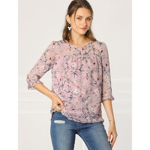 Women's Casual Chiffon Top Ruffle 3/4 Sleeve Flowy Floral Print Blouse