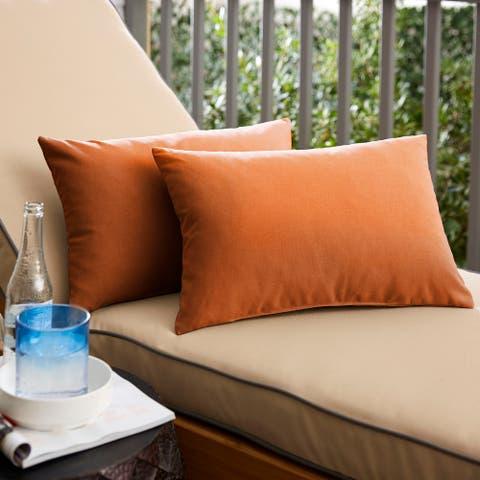 Sunbrella Canvas Rust Indoor/Outdoor Knife Edge Pillow Set (Set of 2)
