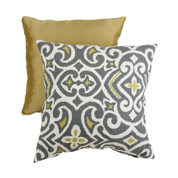 "16.5"" Eco-Friendly Virgin Recycled Moroccan Flair Throw Pillow - Yellow/Gray"
