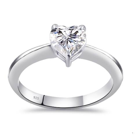 Moissanite Sterling Silver Heart Solitaire Ring by Sparklezz