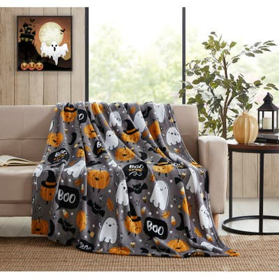 Asher Home Halloween Ghost Pumpkin 50 x 60 inches Throw Blanket