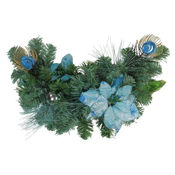 """24"""" Blue and Silver Peacock and Poinsettia Artificial Christmas Swag - Unlit"""