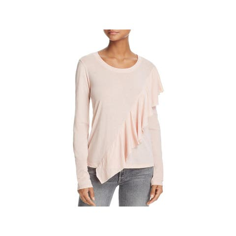 Splendid Womens T-Shirt Ruffled Long Sleeves
